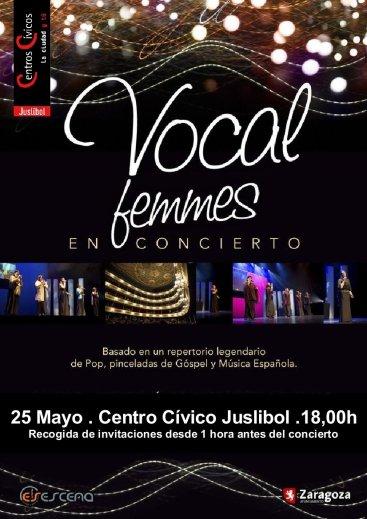 Cartel de Vocal Femmes , en el Centro Cívico Juslibol