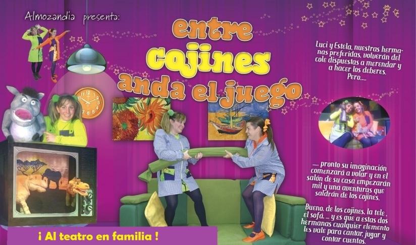 """Cartel """"Entre cojines anda el juego"""""""