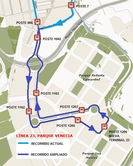 Línea 23 parque venecia